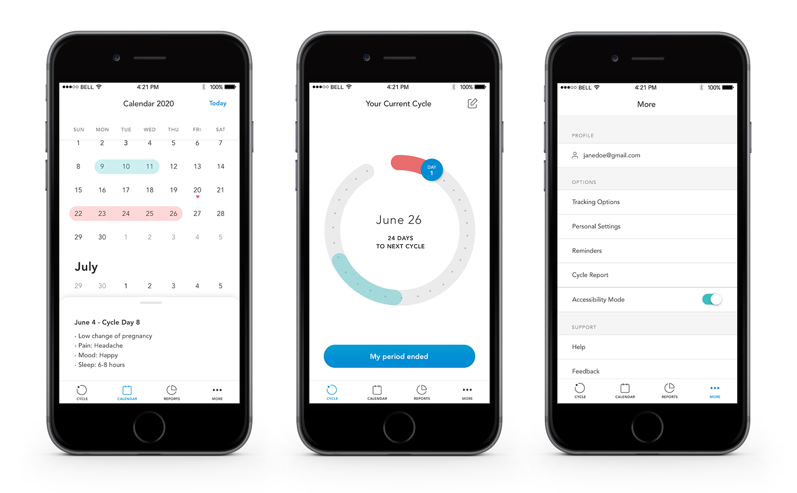 period tracking app screens